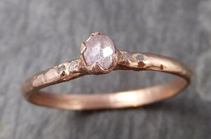 Faceted Fancy cut Rose Dainty Diamond Solitaire Engagement 14k Rose Gold Wedding Ring byAngeline 0794