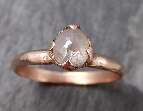 Faceted Fancy cut Rose Dainty Diamond Solitaire Engagement 14k Rose Gold Wedding Ring byAngeline 0795 - Gemstone ring by Angeline
