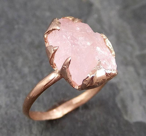 Raw Rough Morganite 14k Rose gold solitaire Pink Gemstone Cocktail Ring Statement Ring Raw gemstone Jewelry by Angeline 0896