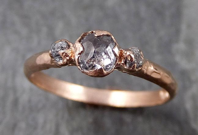 Dainty Fancy cut salt and pepper Diamond Engagement 14k Rose Gold Multi stone Wedding Ring Stacking Rough Diamond Ring byAngeline 0897
