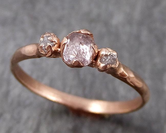 Dainty Fancy cut white Diamond Engagement 14k Rose Gold Multi stone Wedding Ring Stacking Rough Diamond Ring byAngeline 0898