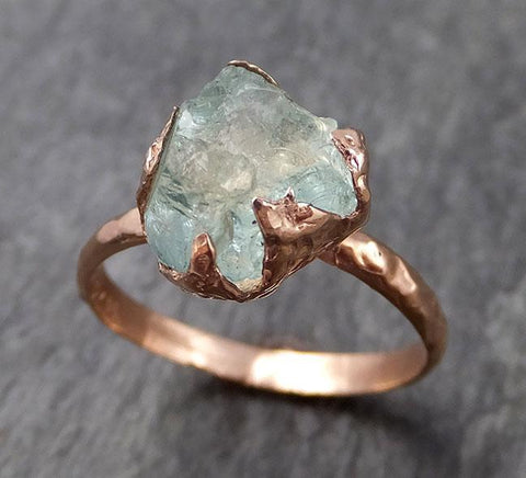 Raw uncut Aquamarine Solitaire Ring Custom One Of a Kind Gemstone Ring Bespoke byAngeline 0899