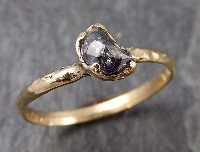 Fancy Cut Half Moon Diamond Solitaire Engagement 14k Gold Wedding Ring byAngeline 0900