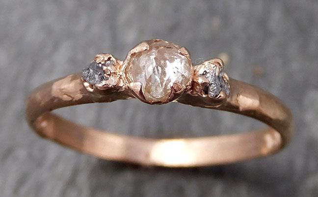 Dainty Fancy cut white Diamond Engagement 14k Rose Gold Multi stone Wedding Ring Stacking Rough Diamond Ring byAngeline 0902