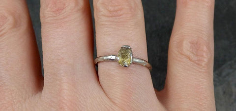Rough yellow Sapphire Solitaire 14k white Gold Engagement Ring Wedding Ring Custom One Of a Kind Gemstone Ring 0904