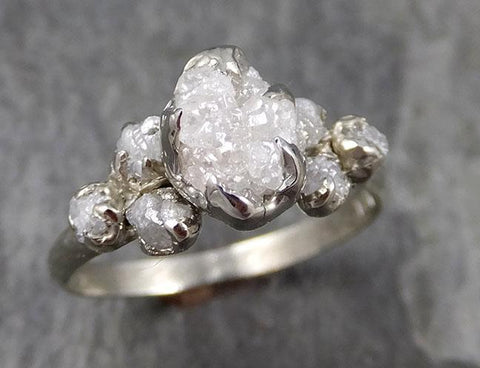 Rough Grey Diamond Engagement Ring Raw 18k White Gold Wedding Ring diamond Multi stone Rough Diamond Ring 0911