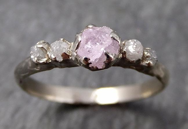 Custom pink Sapphire and White gold Engagement Ring Wedding Rough Diamond Ring byAngeline 0914