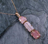 Raw Pink Tourmaline Rose Gold Pendant Necklace Rough Uncut Pastel Pink Gemstone recycled 14k - Gemstone ring by Angeline