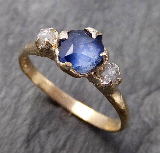 Partially faceted Montana Sapphire Diamond 14k yellow Gold Engagement Ring Wedding Ring Custom One Of a Kind blue Gemstone Ring Multi stone Ring 1064