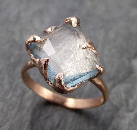 Partially faceted Aquamarine Solitaire Ring 14k rose gold Custom Gemstone Ring Bespoke byAngeline 1065