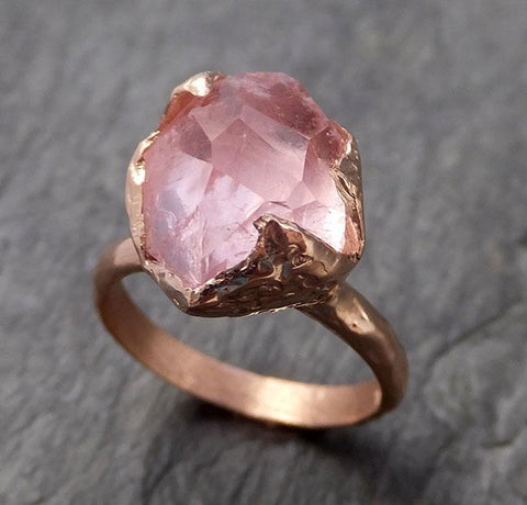 Morganite partially faceted 14k Rose gold solitaire Pink Gemstone Cocktail Ring Statement Ring gemstone Jewelry by Angeline 1066