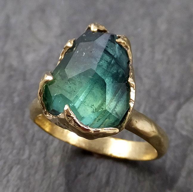 Partially faceted Solitaire Green Tourmaline 18k Gold Engagement Ring One Of a Kind Gemstone Ring byAngeline 1067