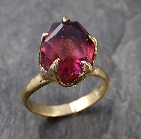 Partially faceted Solitaire red Tourmaline 18k Gold Engagement Ring One Of a Kind Gemstone Ring byAngeline 1068