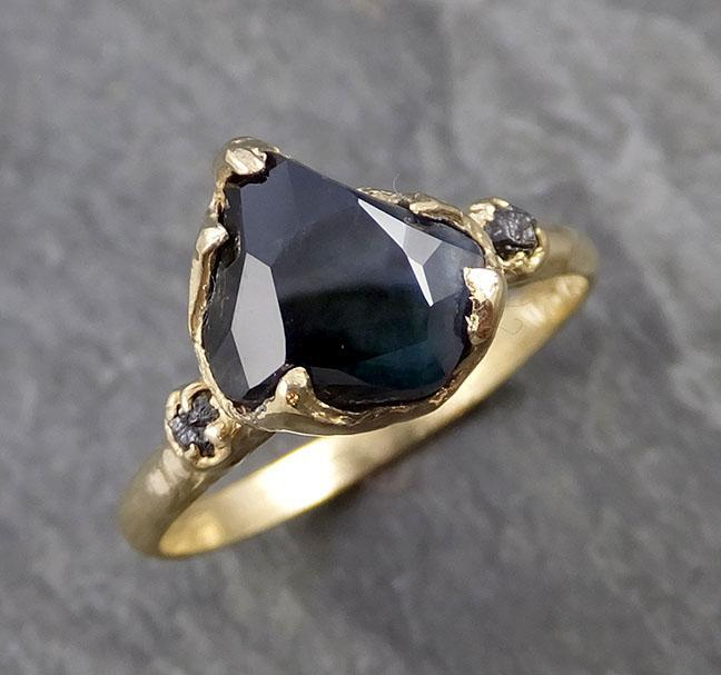 Partially faceted Sapphire natural sapphire gemstone Raw Rough Diamond 18k Yellow Gold Engagement ring multi stone 1069