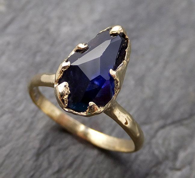 Partially Faceted Blue Sapphire Solitaire 18k yellow Gold Engagement Ring Wedding Ring Custom One Of a Kind Gemstone Ring 1070