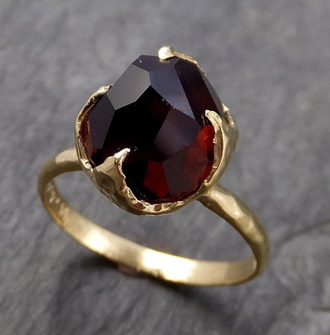 Partially Faceted Sapphire Solitaire 18k yellow gold Engagement Ring Wedding Ring Custom One Of a Kind Gemstone Ring 1071