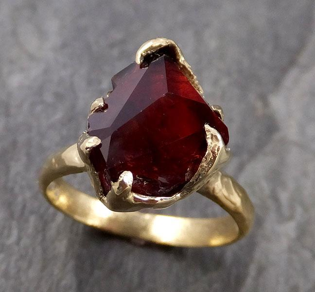 Partially faceted Natural red Garnet Gemstone solitaire ring Recycled 18k Gold One of a kind Gemstone ring 1072