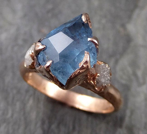 Raw Rough and partially Faceted Aquamarine Diamond 14k rose gold Multi stone Ring One Of a Kind Gemstone Ring Recycled gold 1074