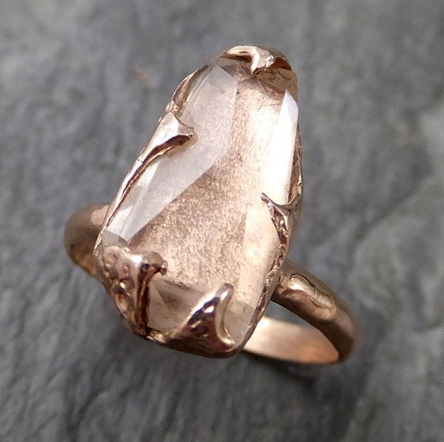 Partially Faceted Topaz 14k rose Gold Ring One Of a Kind Gemstone Ring Recycled gold byAngeline 1075