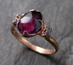 Partially Faceted Sapphire Multi stone raw Montanna side sapphires 14k Rose Gold Engagement Ring Wedding Ring Custom One Of a Kind Violet Gemstone Ring 1076