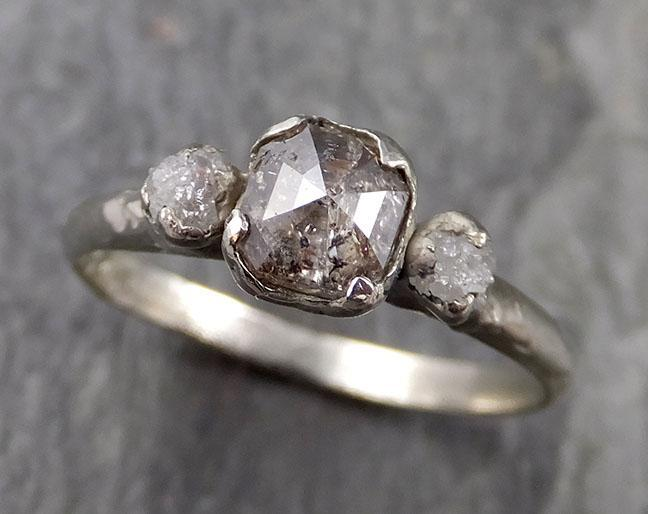 Fancy cut salt and pepper Diamond Multi stone Engagement 14k White Gold Wedding Ring Rough Diamond Ring byAngeline 1080