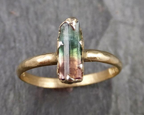 Tourmaline Raw Bi Color Pink Green 14k yellow Gold Engagement Ring One Of a Kind Gemstone Ring 1082