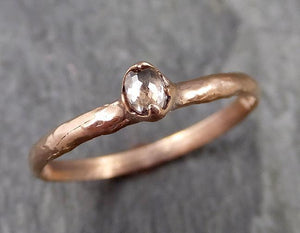 Faceted Fancy cut Dainty Champagne Diamond Solitaire Engagement 14k Rose Gold Wedding Ring byAngeline 1084