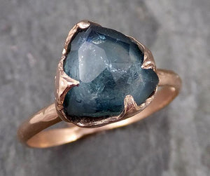 Partially faceted blue Tourmaline Solitaire 14k Rose Gold Engagement Ring One Of a Kind Gemstone Ring byAngeline 1086