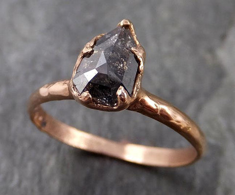Fancy cut Salt and pepper Solitaire Diamond Engagement 14k Rose Gold Wedding Ring byAngeline 1087