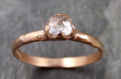 Faceted Fancy cut white Diamond Solitaire Engagement 14k Rose Gold Wedding Ring byAngeline 1088