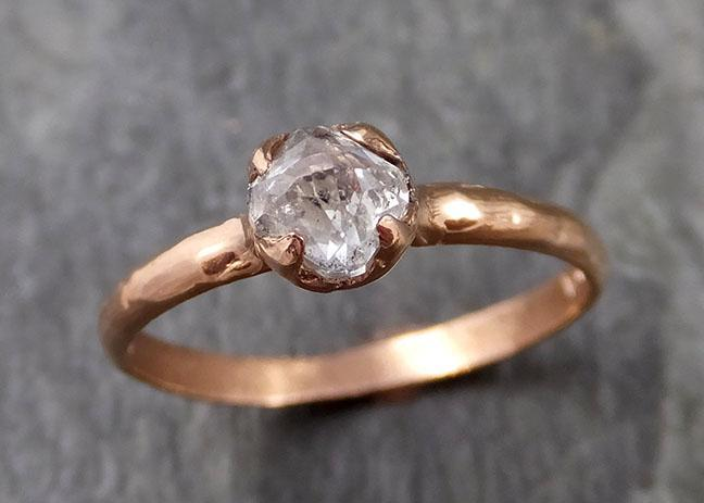 Faceted Fancy cut white Diamond Solitaire Engagement 14k Rose Gold Wedding Ring byAngeline 1089