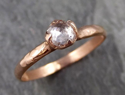 Faceted Fancy cut white Diamond Solitaire Engagement 14k Rose Gold Wedding Ring byAngeline 1090