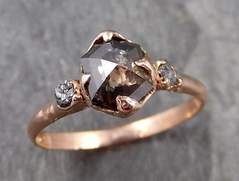Fancy cut salt and pepper Diamond Engagement 14k Rose Gold Multi stone Wedding Ring Stacking Rough Diamond Ring byAngeline 1092