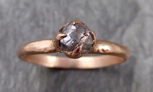 natural rough uncut salt and pepper Diamond Solitaire Engagement 14k rose Gold Wedding Ring byAngeline 1095