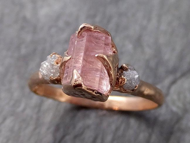 Raw Pink Tourmaline Diamond 14k Rose Gold Multi stone Engagement Ring Wedding Ring One Of a Kind Gemstone Ring Bespoke Three stone Ring 1097
