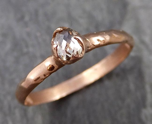 Faceted Fancy cut Dainty White Diamond Solitaire Engagement 14k Rose Gold Wedding Ring byAngeline 1099