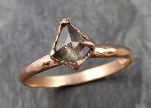 Fancy cut Salt and pepper Solitaire Diamond Engagement 14k Rose Gold Wedding Ring byAngeline 1100