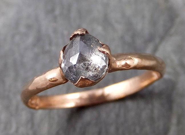 Fancy cut Salt and pepper Solitaire Diamond Engagement 14k Rose Gold Wedding Ring byAngeline 1101