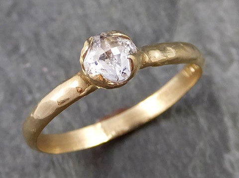 Fancy cut white Diamond Solitaire Engagement 14k yellow Gold Wedding Ring byAngeline 1103