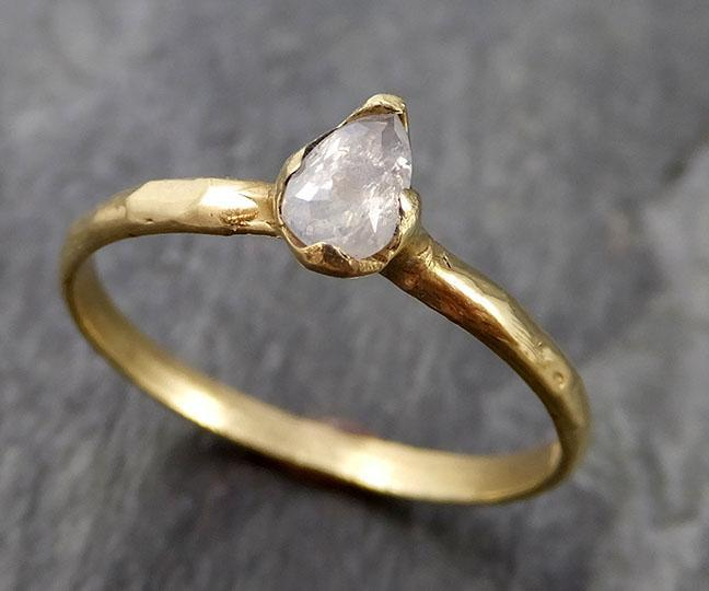 Fancy cut white Diamond Solitaire Engagement 18k yellow Gold Wedding Ring byAngeline 1104