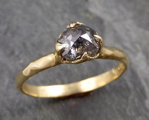 Fancy cut salt and pepper Diamond Solitaire Engagement 18k yellow Gold Wedding Ring Diamond Ring byAngeline 1105