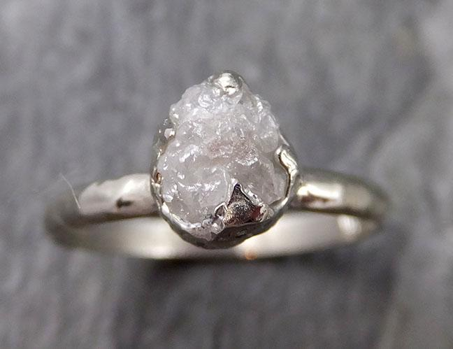 Rough Diamond Engagement Ring Raw 14k White Gold Ring Wedding Diamond Solitaire Rough Diamond Ring byAngeline 1112