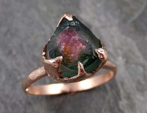 Partially faceted Watermelon Tourmaline Solitaire 14k Rose Gold Engagement Ring One Of a Kind Gemstone Ring byAngeline 1117