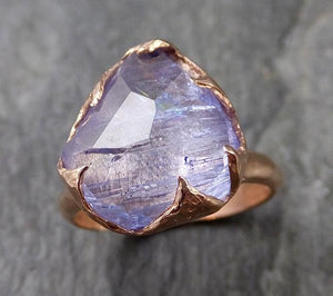 Partially faceted Tanzanite Crystal rose Gold Ring Rough Uncut Gemstone Solitaire recycled 14k byAngeline 1118