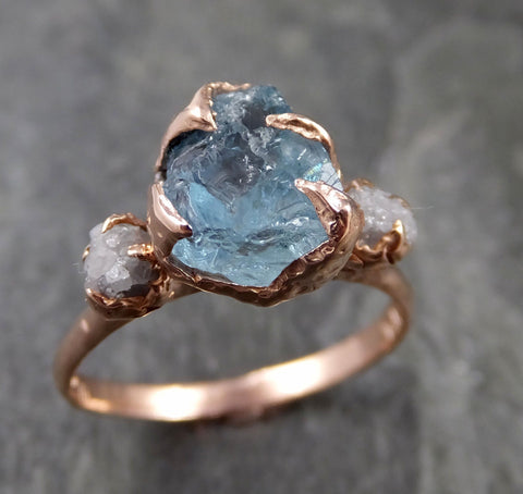 Aquamarine Diamond Raw Uncut rose 14k Gold Engagement Ring Multi stone Wedding Ring Custom One Of a Kind Gemstone Bespoke byAngeline 1119