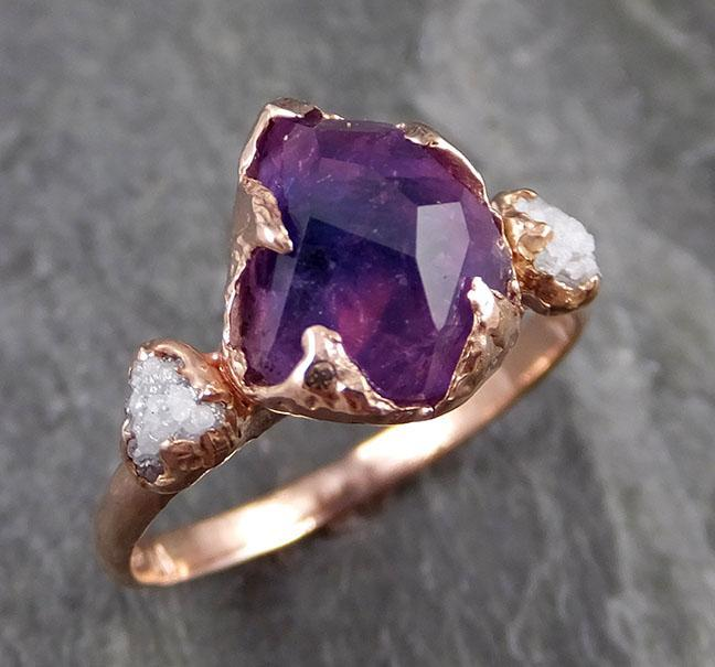 Sapphire Partially Faceted Multi stone Rough Diamond 14k rose Gold Engagement Ring Wedding Ring Custom One Of a Kind Gemstone Ring 1124