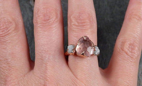 Partially Faceted Pink Topaz Diamond 14k rose Gold Ring One Of a Kind Gemstone Ring Recycled gold byAngeline Multi stone 1125