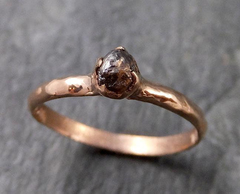 Raw Cognac Diamond Solitaire Dainty Engagement 14k Rose Gold Wedding Ring Diamond Ring byAngeline 1128