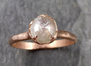 Faceted Fancy cut white Diamond Solitaire Engagement 14k Rose Gold Wedding Ring byAngeline 1129