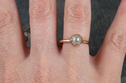 Faceted Fancy cut white Diamond Solitaire Engagement 14k Rose Gold Wedding Ring byAngeline 1130